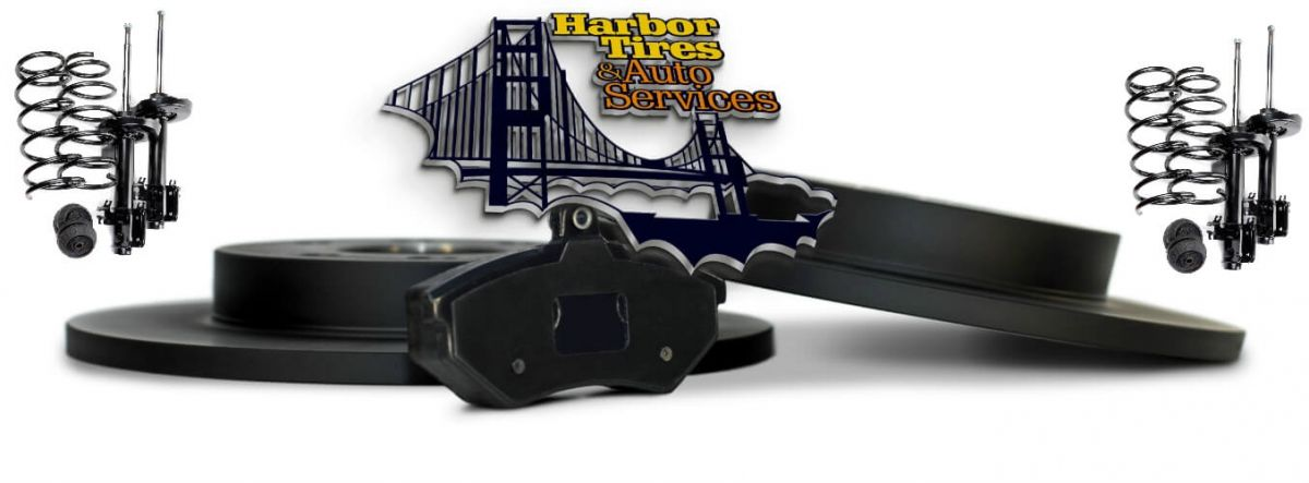 Harbor Tires and Auto Services Logo and brakes and shocks